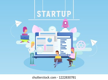 Modern Flat Design Concept of Business Startup. Young Men have an Idea. Cohesive Teamwork in the Startup. Vector Illustration for Web Page, Banner, Social Media and Landing Page.