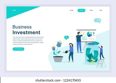 Modern flat design concept of Business Investment for website and mobile website development. Landing page template. Analysis of sales, statistic growth data. Vector illustration.