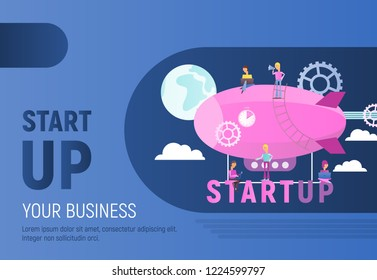 Modern Flat Design Concept of Business Startup. Young People Fly on Airship. Cohesive Teamwork in the Startup. Vector Illustration for Web Page, Banner, Social Media and Landing Page. Blue Background.