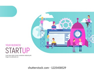 Modern Flat Design Concept of Business Startup. Young Men are Launching Rocket. Men and Women near Big Laptop. Cohesive Teamwork. Vector Illustration for Web, Banner, Social Media and Landing Page.