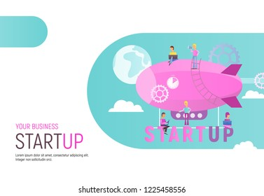 Modern Flat Design Concept of Business Startup. Young Men and Women Fly on Airship. Cohesive Teamwork in the Startup. Vector Illustration for Web Page, Banner, Social Media and Landing Page.