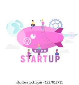 Modern Flat Design Concept of Business Startup. Young Men People Fly on Airship Isolated on White Background.. Cohesive Teamwork in the Startup. Vector Illustration for Social Media and Landing Page.