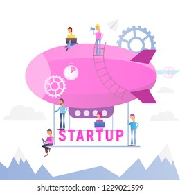 Modern Flat Design Concept of Business Startup. Young Men people Fly on Airship. Cohesive Teamwork in the Startup. Vector Illustration for Web, Banner, Social Media and Landing Page. White Background.