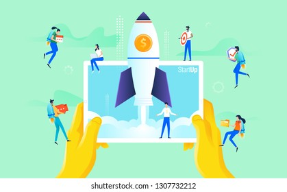 Modern flat design concept of business startup, teamwork working people, launch rocket, project startup mobile technology, website landing page design vector illustration.
