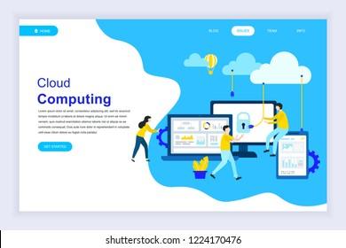 Modern flat design concept of Cloud Technology for website and mobile website development. Landing page template. Cloud computing service online media file data backup storage. Vector illustration.