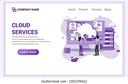 Modern Flat design concept of Cloud Computing Services with characters on desk managing data. Can use for web banner, business analysis, landing page, website template. Flat vector illustration