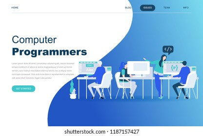 Modern flat design concept of Computer Programmers for website and mobile website development. Landing page template. Developer of project team of engineers for website coding. Vector illustration.