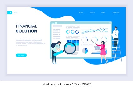 Modern flat design concept of Financial Solution with decorated small people character for website and mobile website development. UI and UX design. Landing page template. Vector illustration.