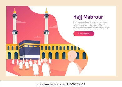 Modern flat design concept of Hajj and Umrah travel for website and mobile website. Landing page template. Vector illustration