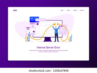 Modern flat design concept of man trying to menyambung kabel from his monitor, internal server error for website and mobile website. Error page template