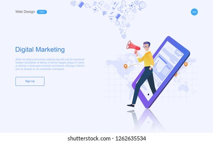 Modern flat design concept of marketing for banner and website, landing page template. Content strategy and management,analysis, development Vector illustration.