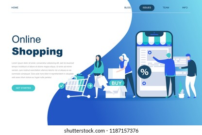Modern flat design concept of Online Shopping for website and mobile website development. Landing page template. E-commerce market, shopping payment or customer support. Vector illustration.