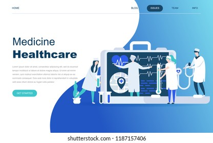 Modern flat design concept of Online Medicine and Healthcare for website and mobile website development. Landing page template. Doctors treating the patient. Vector illustration.