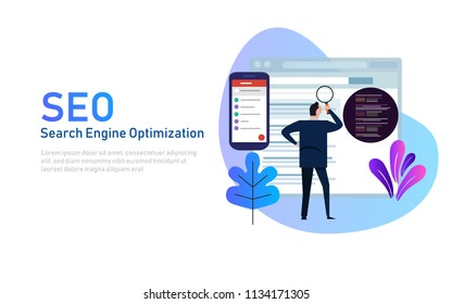 Modern flat design concept of SEO Search Engine Optimization for website and mobile website. Landing page template. Edit analyze code. Vector illustration