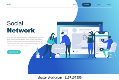 Modern flat design concept of Social Network for website and mobile website development. Landing page template. Virtual communication and media sharing. Vector illustration.