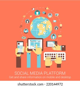 Modern flat design concept for social media platform worldwide people connection tablet smart phone pc vector web banners illustration print materials website click infographics elements collection