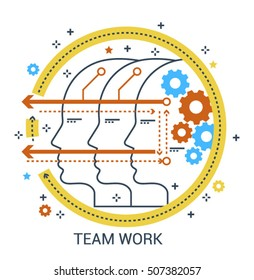Modern flat design concept of Teamwork, Brainstorming and Artificial Intelligence icon.