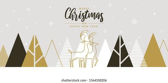 Modern Flat design Creative Christmas greeting card. Abstract Christmas trees, holiday theme. Vector Illustration