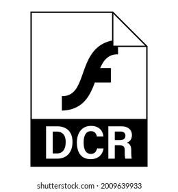 Modern flat design of DCR file icon for web