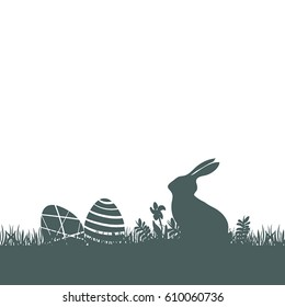 Modern flat design with Easter rabbit silhouette and eggs on white background