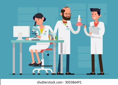 Modern flat design female and male scientist characters at work | Concept design on chemistry laboratory specialists working on research and exploration