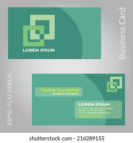 Modern and Flat Design Green Color Business Card