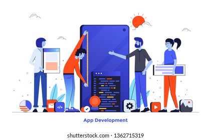 Modern flat design illustration of App Development. Can be used for website and mobile website or Landing page. Easy to edit and customise. Vector illustration isolated on white background.