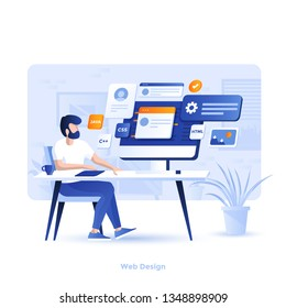 Modern flat design illustration of Web Design. Can be used for website and mobile website or Landing page. Easy to edit and customize. Vector illustration