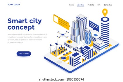 Modern flat design isometric concept of Smart City for website and mobile website. Landing page template. Easy to edit and customize. Vector illustration