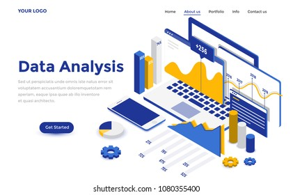 Modern flat design isometric concept of Data Analysis for website and mobile website. Landing page template. Easy to edit and customize. Vector illustration