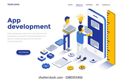 Modern flat design isometric concept of App Development for website and mobile website. Landing page template. Easy to edit and customize. Vector illustration