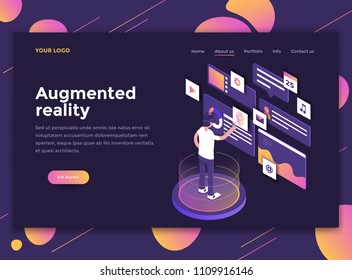 Modern flat design isometric concept of Augmented Reaity for website and mobile website. Landing page template, dark theme. Easy to edit and customize. Vector illustration