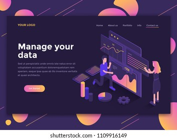 Modern flat design isometric concept of Manage your data for website and mobile website. Landing page template, dark theme. Easy to edit and customize. Vector illustration