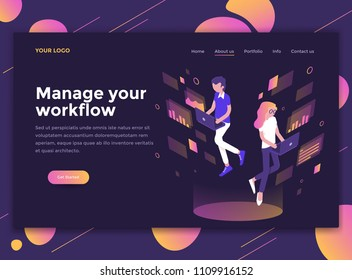 Modern flat design isometric concept of Manage your Workflow for website and mobile website. Landing page template, dark theme. Easy to edit and customize. Vector illustration