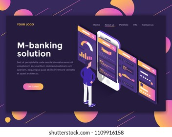 Modern flat design isometric concept of M-banking solution for website and mobile website. Landing page template, dark theme. Easy to edit and customize. Vector illustration