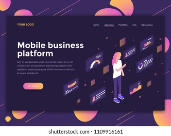 Modern flat design isometric concept of Mobile Business platform for website and mobile website. Landing page template, dark theme. Easy to edit and customize. Vector illustration