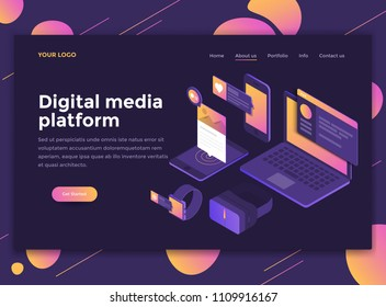 Modern flat design isometric concept of Digital Media Platform for website and mobile website. Landing page template, dark theme. Easy to edit and customize. Vector illustration