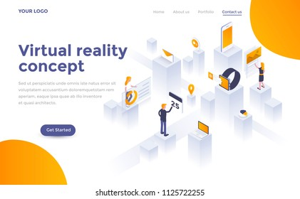 Modern flat design isometric concept of Virtual Reality concept for website and mobile website. Landing page template. Easy to edit and customize. Vector illustration