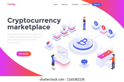Modern flat design isometric concept of Cryptocurrency marketplace for website and mobile website. Landing page template. Easy to edit and customize. Vector illustration