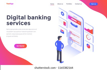 Modern flat design isometric concept of Digital Banking services for website and mobile website. Landing page template. Easy to edit and customize. Vector illustration
