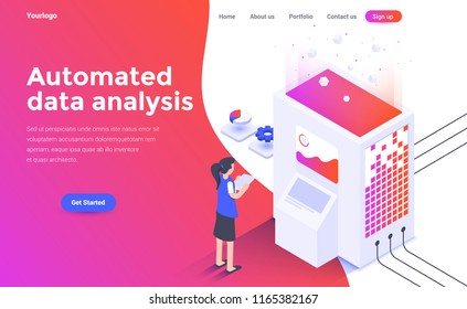 Modern flat design isometric concept of Automated data analysis for website and mobile website. Landing page template. Easy to edit and customize. Vector illustration