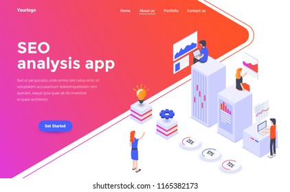 Modern flat design isometric concept of Seo analysis app for website and mobile website. Landing page template. Easy to edit and customize. Vector illustration