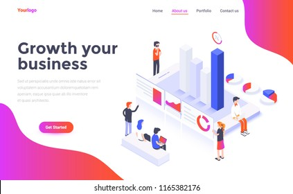 Modern flat design isometric concept of Growth your business for website and mobile website. Landing page template. Easy to edit and customize. Vector illustration