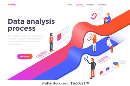 Modern flat design isometric concept of Data Analysis process for website and mobile website. Landing page template. Easy to edit and customize. Vector illustration