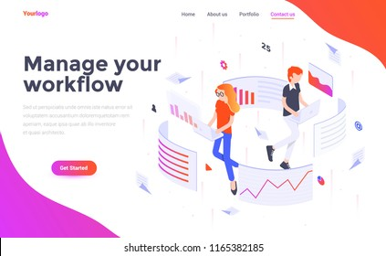 Modern flat design isometric concept of Manage your workflow for website and mobile website. Landing page template. Easy to edit and customize. Vector illustration