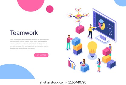 Modern flat design isometric concept of Teamwork for banner and website. Landing page template. Business, workflow management and office situations. Vector illustration.