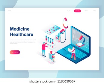Modern flat design isometric concept of Online Medicine and Healthcare for banner and website. Isometric landing page template. Doctors treating the patient. Vector illustration.