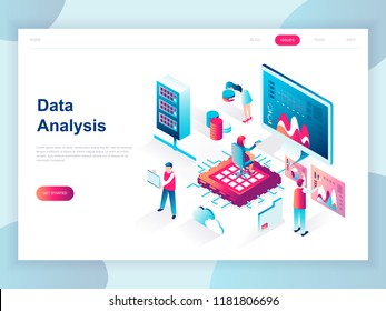 Modern flat design isometric concept of Big Data Analysis for banner and website. Isometric landing page template. Digital information chart and statistic financial budget. Vector illustration.