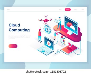 Modern flat design isometric concept of Cloud Technology for banner and website. Isometric landing page template. Cloud computing service online media file data backup storage. Vector illustration.