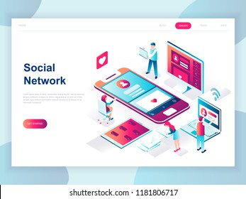 Modern flat design isometric concept of Social Network for banner and website. Isometric landing page template. Virtual communication and media sharing. Vector illustration.